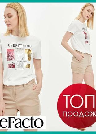 Белая женская футболка defacto / дефакто с серебристым и золотистым принтом everything is possible