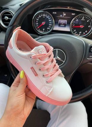 Женские кеды, кеды белые с розовым7 фото