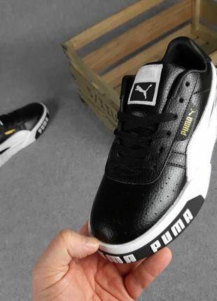 Женские кроссовки puma cali чёрные с белым8 фото