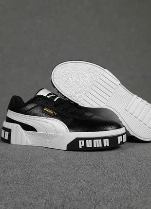 Женские кроссовки puma cali чёрные с белым3 фото
