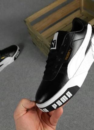 Женские кроссовки puma cali чёрные с белым9 фото