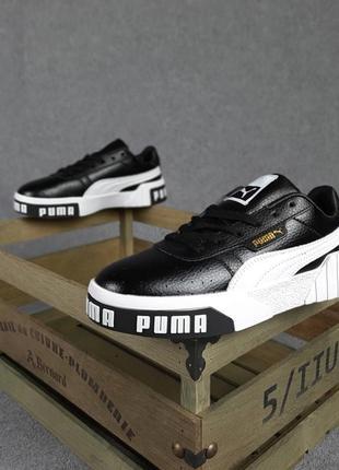 Женские кроссовки puma cali чёрные с белым5 фото