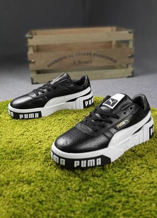 Женские кроссовки puma cali чёрные с белым