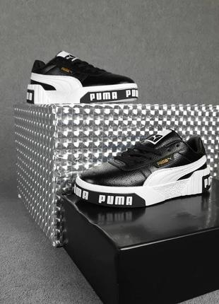 Женские кроссовки puma cali чёрные с белым4 фото