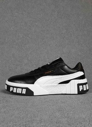 Женские кроссовки puma cali чёрные с белым7 фото
