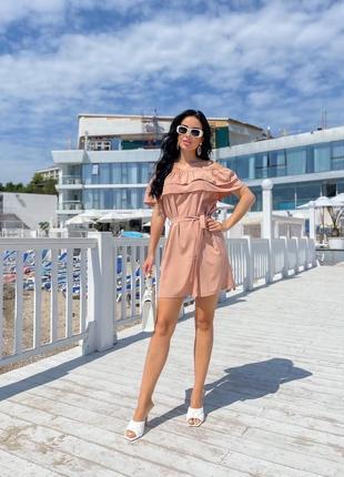 Платье женское летнее с открытыми плечами легкое короткое пляжное