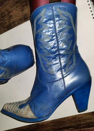 Кожаные ковбойские сапоги казаки western boots italian  🇮🇹