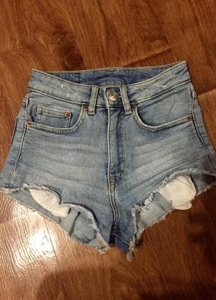 Шорты джинсовые mom slim высокая посадка голубые с высокой посадкой ххс/хс 32