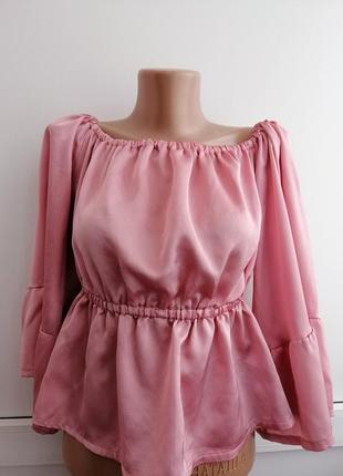 Блуза атласная розовая