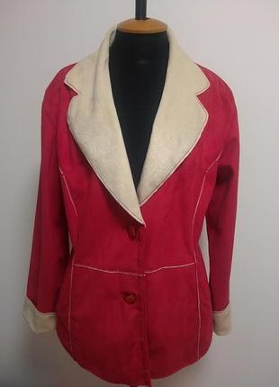 Яркий пиджак куртка эко-замш