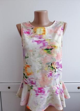 Блуза белая розовая цветочный принт