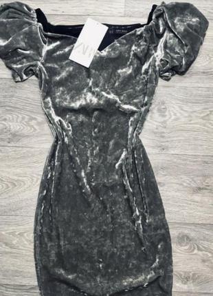 Стильное платье zara рукав фонарик