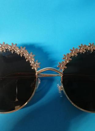 😍стильные женские солнцезащитные очки с цветочным дизайном😍7 фото