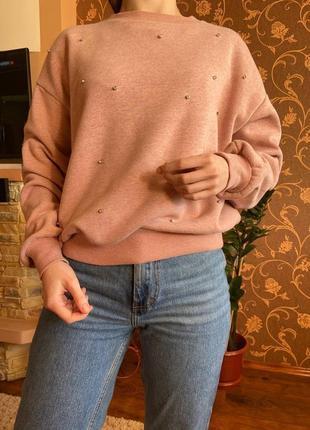 Теплый свитшот, свитер на флисе со стразами от sinsay