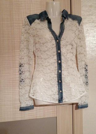 Акция 1+1=3🤑🤩красивая кружевная ажурная блуза рубашка с вставками джинса