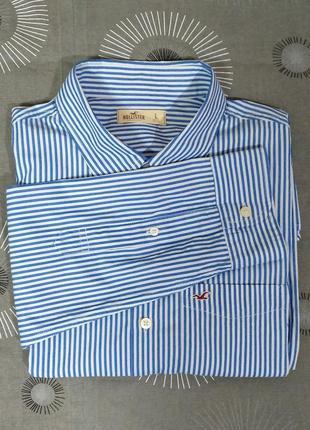 Хлопковая рубашка в полоску hollister