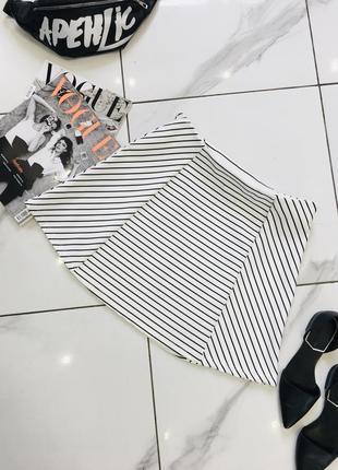 Стильная юбка клеш а-силуэта солнце в полоску gina tricot