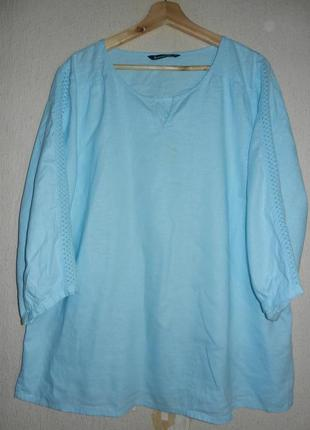 Трендовая льняная блуза рубашка кружево батал