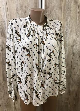 Летняя блуза блузка рубашка свободного кроя котоновая хлопковая натуральная котон хлопок imperial