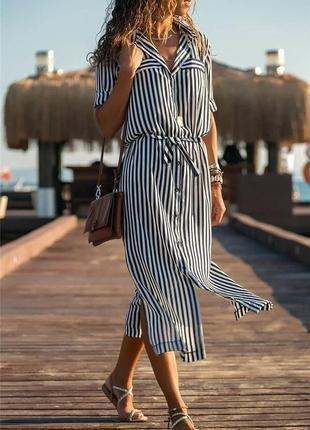 Платье - рубашка женское, летнее, в полоску, размер:42-44,44-46;7106old
