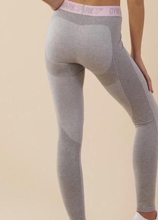 Лосины леггинсы для бега и фитнеса gymshark ®flex leggings , light grey marl/ chalk pink