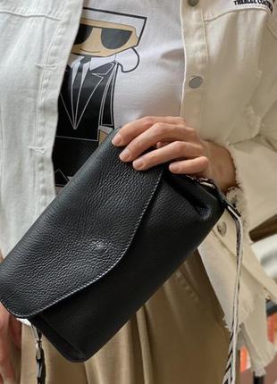 Кожаная сумка, тканевой ремень, италия4 фото