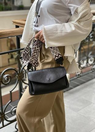 Кожаная сумка, тканевой ремень, италия3 фото
