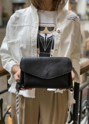 Кожаная сумка, тканевой ремень, италия2 фото