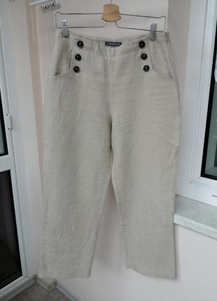 Бежевые льняные брюки laura ashley