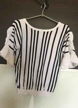 Летняя блуза белая в полоску рукава воланы от next