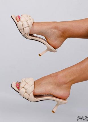 ❤ женские бежевые кожаные шлёпки шлёпанцы сланцы тапочки мюли ❤