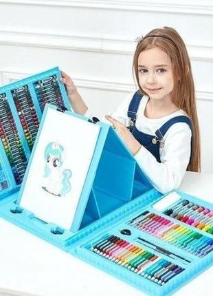 208 предметів набір художника для творчості з мольбертом blue набор для рисования