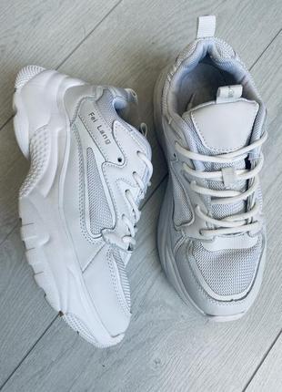 Легкие белые кроссовки массивная подошва сетка/белые модные кроссовки