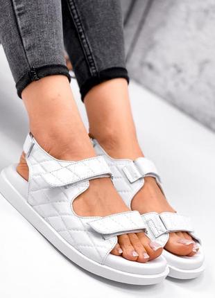 Женские кожаные белые  босоножки сандали 🔸босоніжки сандалі