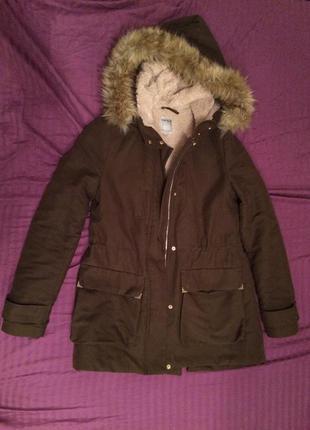 Парка куртка женская зимняя zara s , хаки , тёплая , пальто