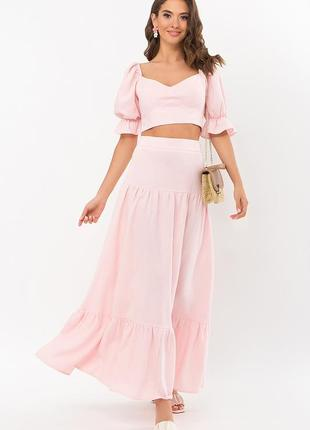 Летний розовый костюм из льна - топ+юбка в пол
