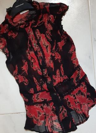 Шелковая воздушная блуза нежная блуза нарядная блузка принт короткий рукав англия жатка s m