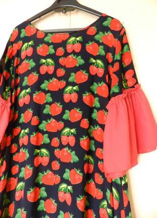 Платье клубничка штапель воланы 100% хлопок1 фото