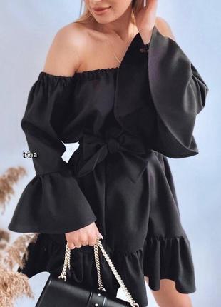 Женское летнее платье с открытыми плечами и объёмными рукавами, женское платье с воланами
