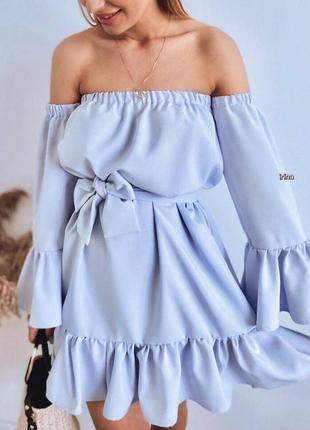 Женское летнее платье с открытыми плечами и объёмными рукавами ,платье с воланами