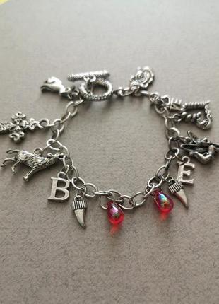 Классный браслет цепочка с подвесками шармами ангел сердце крест волк