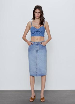 Джинсовая юбка миди zw premium 90s