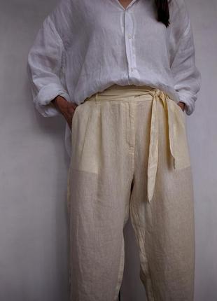Льняные брюки зауженные с поясом