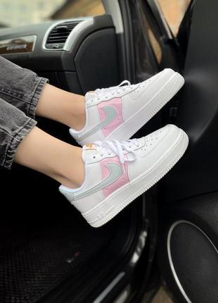 Женские кроссовки nike air force 1 low white/pink/grey, белый/розовый/серый