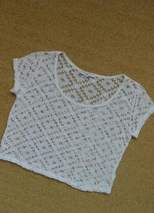 Кроп топ new look ажурный кружевной белый укороченный 100% хлопок натуральный