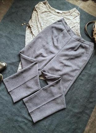 Легкие летние лляные брюки на резинке и высокой посадке