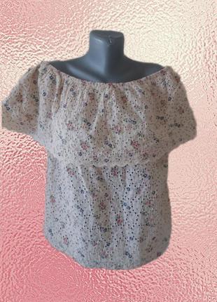 Шикарная натуральная блузка с открытыми плечамир.16