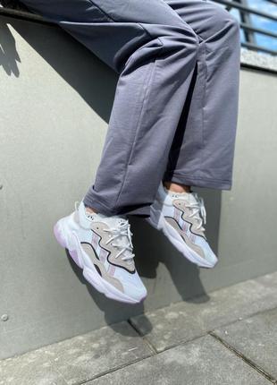 Женские кроссовки adidas ozweego white/pink/grey