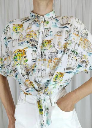 Блуза рубашка кроп-топ на завязках интересный принт италия картина
