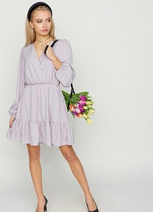Платье на запах с пышной юбкой и воланом, размер xs-l
